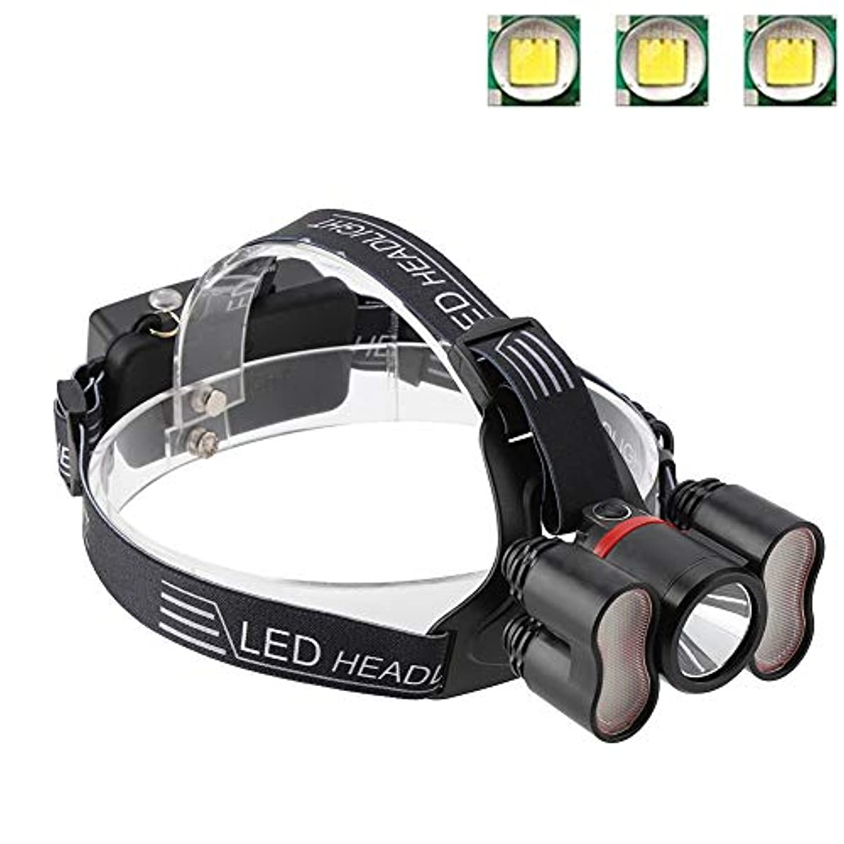 並外れたマイルストーン落胆するヘッドライト懐中電灯、2000LMヘッドライト18650 LED USB充電式防水トラベルヘッドトーチキャンプランプランニングハイキング釣りに適して(#1)