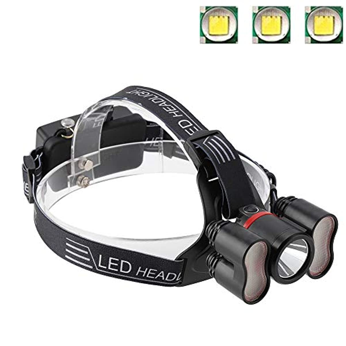 確かめる鳴り響く想像力豊かなヘッドライト懐中電灯、2000LMヘッドライト18650 LED USB充電式防水トラベルヘッドトーチキャンプランプランニングハイキング釣りに適して(#1)