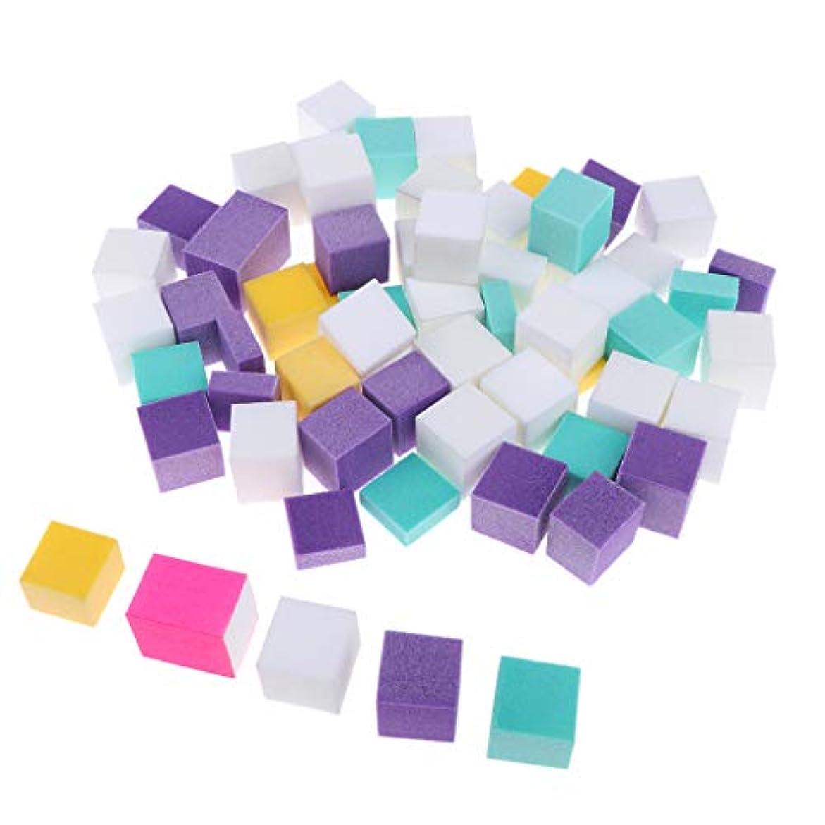 伸ばす作ります深めるPerfeclan ネイルファイル スポンジ マニキュアバフ 正方形 ポリッシュ 多色 ジェルネイル用 約60個セット