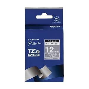 ブラザー工業 TZeテープ おしゃれテープ(つや消しライトグレー地/白字) 12mm TZe-MQL35