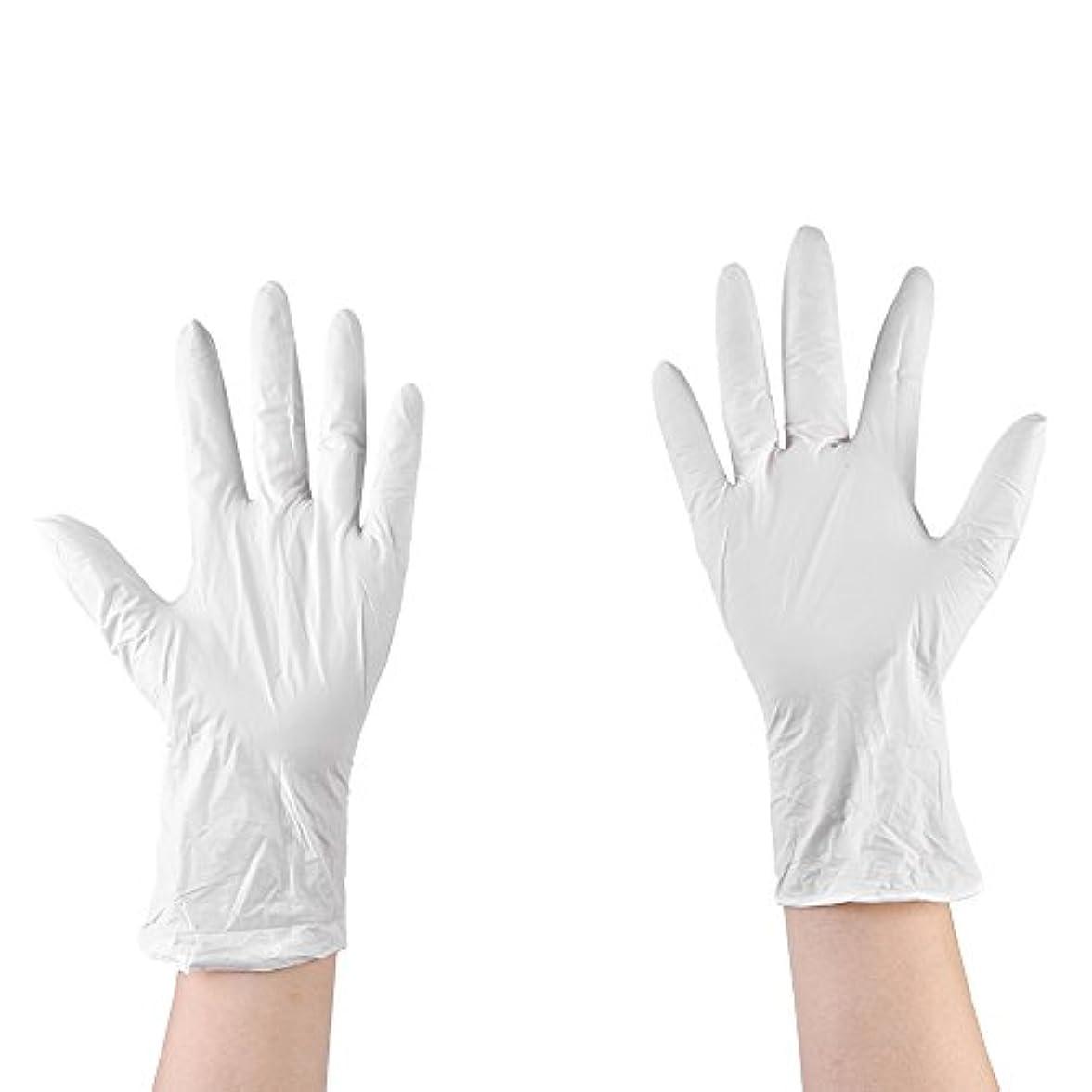 注釈お風呂自治的使い捨て手袋 ニトリルグローブ ホワイト 粉なし タトゥー/歯科/病院/研究室に適応 M/L選択可 50枚 左右兼用 作業手袋(M)