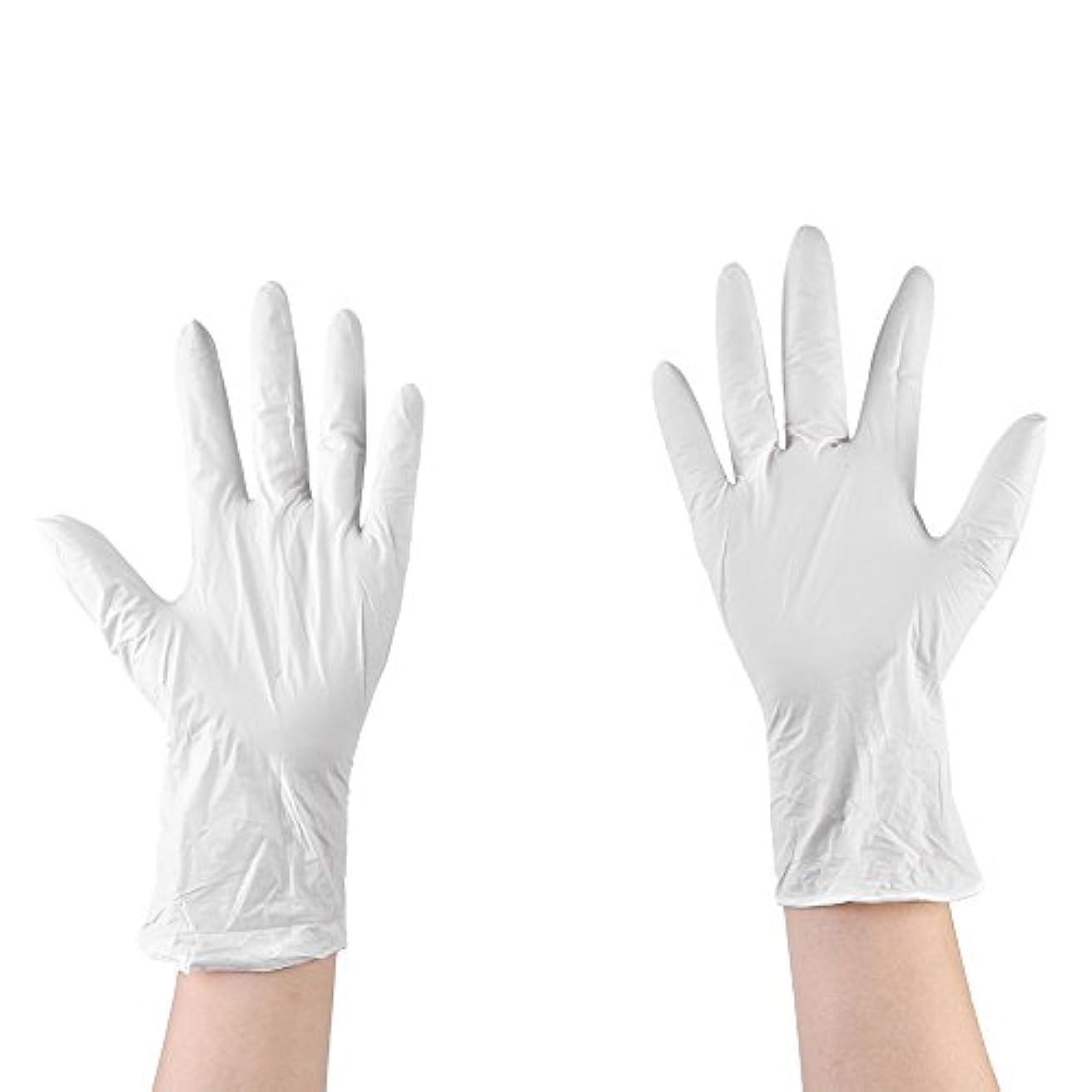 辛な一般化する不安定使い捨て手袋 ニトリルグローブ ホワイト 粉なし タトゥー/歯科/病院/研究室に適応 M/L選択可 50枚 左右兼用 作業手袋(M)