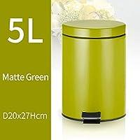 XJZxX ステンレススチールステップゴミ箱ペダルバスルームビンキッチンオフィスホームサイレントと穏やかな開閉スタイリッシュで耐久性 (Color : Green)