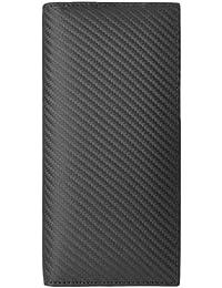 [BlissLeather] 【一流のイタリア製 スペイン製 カーボンレザー使用】高級 本革 二つ折り 長財布 大容量 ボックス付き 10051