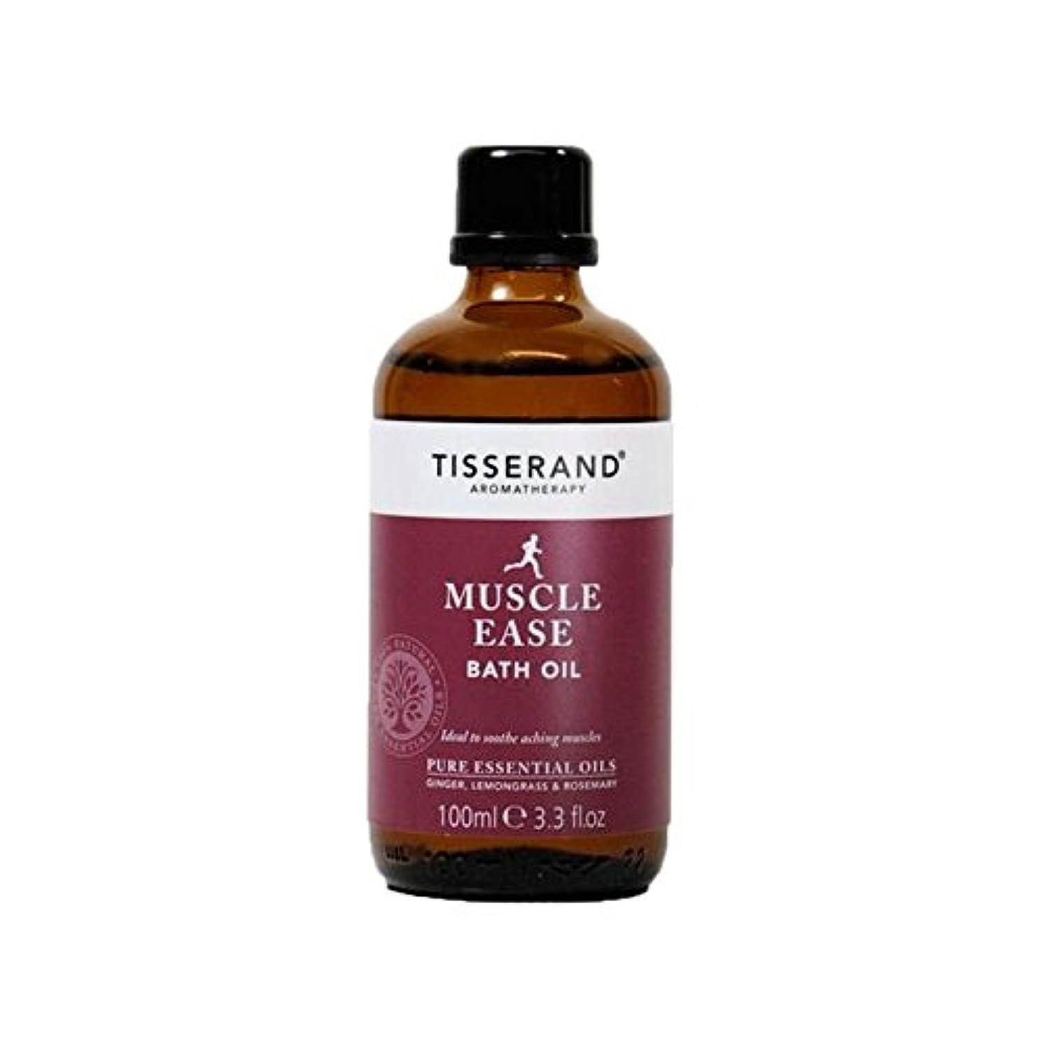 フルーツ無効木製ティスランド筋肉やすバスオイル100ミリリットル x4 - Tisserand Muscle Ease Bath Oil 100ml (Pack of 4) [並行輸入品]