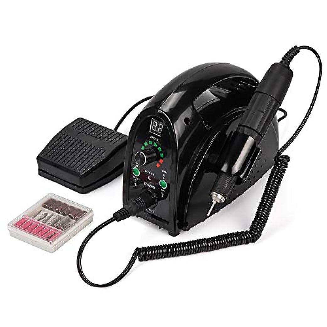 シェル無声でマトロンネイルドリルマシン、強力なネイルドリルマニキュアマシンペディキュア電気強い35000RPMファイルのビットネイルズアート用品ネイルドリルマシン65W