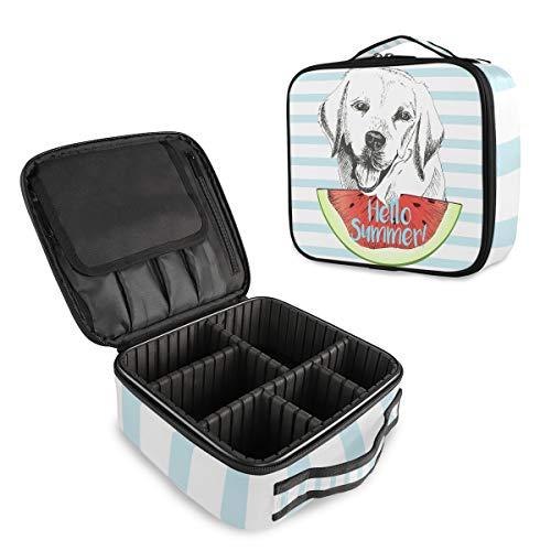 (VAWA) メイクボックス 大容量 プロ用 かわいい ストライプ柄 犬柄 スイカ柄 化粧箱 機能的 コスメ収納 ブラシバッグ 調整可能 旅行出張用