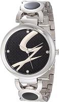 Gattinoniレディースw0197lssblk Astraステンレススチールブラックロゴダイヤル腕時計