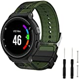 Hianjoo Wrist Strap Compatible with Garmin Forerunner 235/220/230/620/630/735XT, Soft Silicone Sport Watch Band Replacement for Garmin Forerunner 235/220/230/620/630/735XT - Green Camouflage