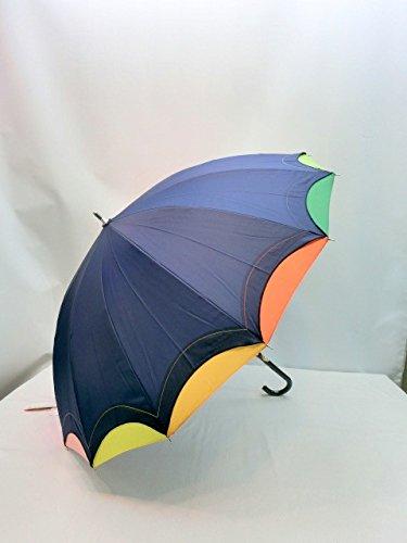 レインボー 虹 グ ッズ 傘 14本骨 カラフル 14色 55cm ジャンプ傘 (ネイビー)