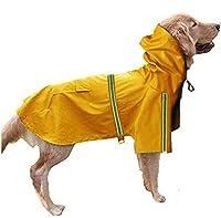 MBBペット犬レインコート防水コートジャケット反射縞模様セーフ (L, 黄)