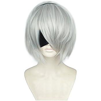 cfac4d8ad0e9e6 ニーア オートマタ NieR: Automata 2B ヨルハ二号B型 風 コスプレ ウィッグ かつら 仮装用 cosplay wig ヘアピース  専用ネット付き