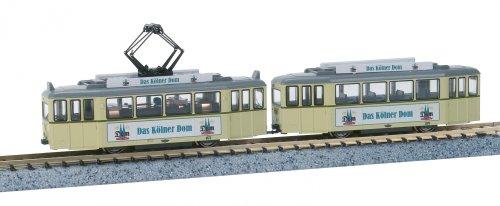 ■【カトー】(K14634)(N)Tram Car 2両セット クリーム Dom広告付 鉄道模型 KATO(外国車両)