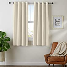 "AmazonBasics Room-Darkening Blackout Curtain Set with Grommets - 52"" x 63"", Taupe"