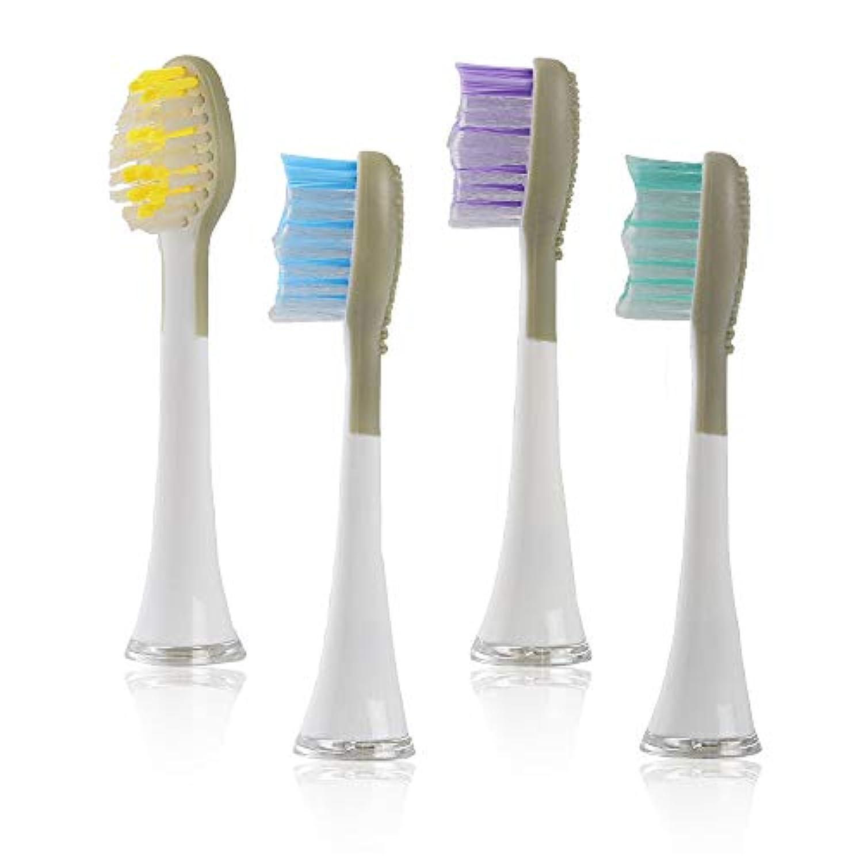 Qurra(FitOne) 専用 替えブラシ 4個 0.15mm 舌クリーナー 付 電動歯ブラシ デュポン製 ナイロン毛 3R SYSTEMS ホワイト