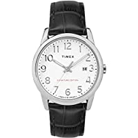 Timex Men's TW2R64900 Easy Reader Signature Black/White Leather Strap Watch