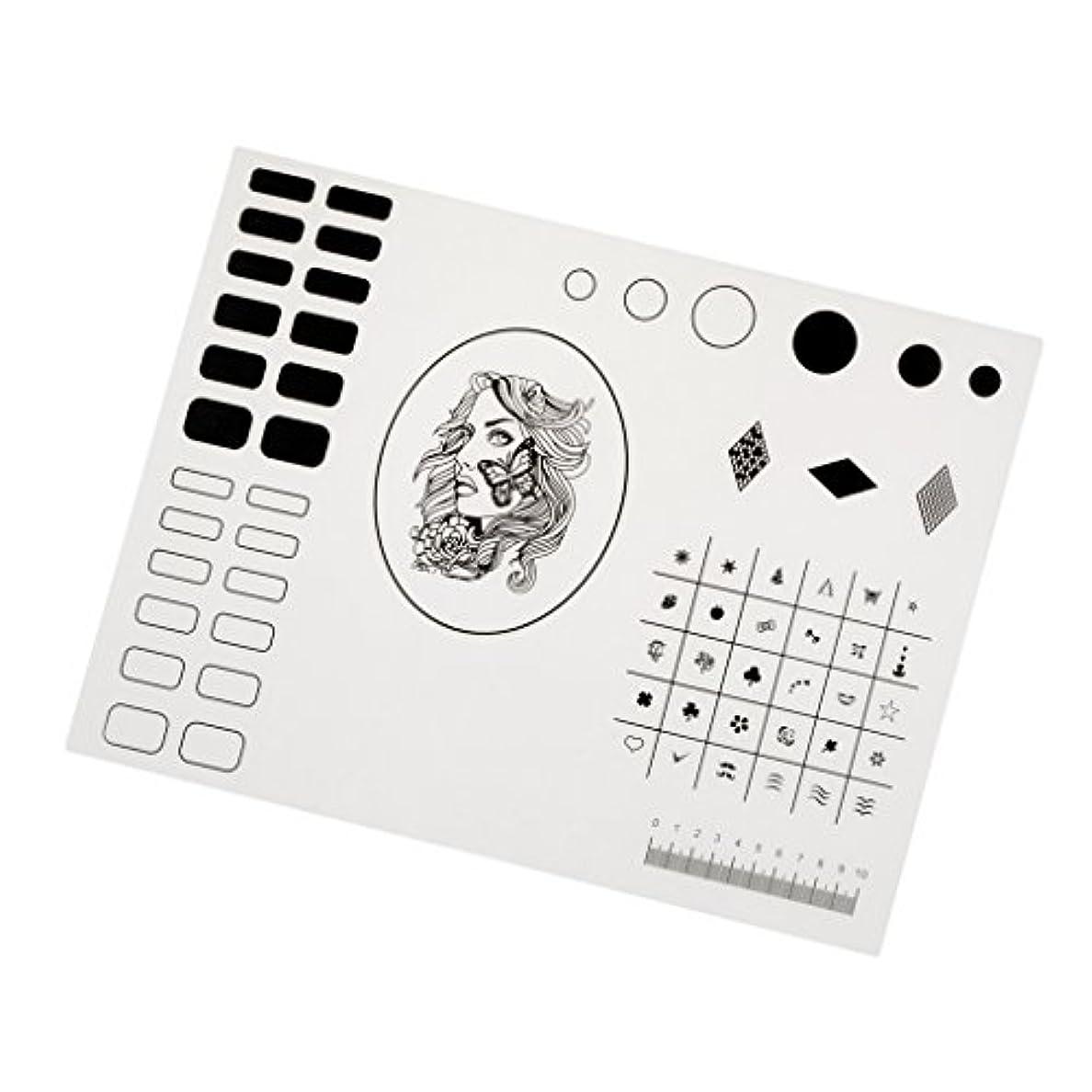 ヘア音楽避難するシリコーン ネイルマット ネイルアート マニキュア ネイルステッカー 繰り返す可 初心者 40.5*30.5cm 2タイプ選べ - タイプ2