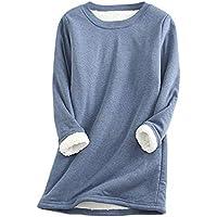 ZGZZ7 Women's Winter Warm Sherpa-Lined Sweatshirts Soft O Neck Fleece Pullover Sweatshirt Tops