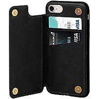iPhone7ケース iPhone8 ケース カード収納 レザーケース ICカード収納 軽量 スタンド機能 耐衝撃 滑り防止 高級PUレザー 多機能スマホケース 携帯カバー アイフォン7 アイフォン8 ケース通用 4.7インチ(ブラック)