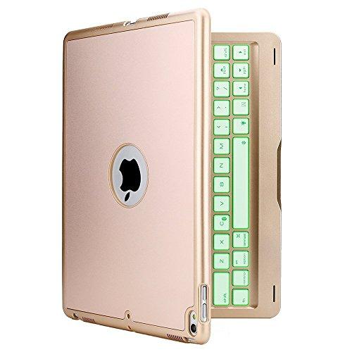 iEGrow iPad Pro 10.5キーボードケース/キーボードカバーF105 夜に綺麗仕事7色 LED バックライト付き 多機能 アルミ合金製 ワイヤレス bluetoothキーボード対応 (ゴールド)