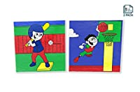 Paint By Number Kit For Kids, Sports Pack - Baseball & Basketball, Paint With Numbers, Paint By Numbers For Kids, Two Pack - 25cm x 25cm Wood Framed Canvas Pre Printed Designs by Little Painters
