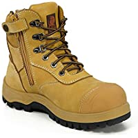 Canura Work Boots Steel Toe Safety Boots Zip Side Anti Penetration Nubuck Leather Wheat