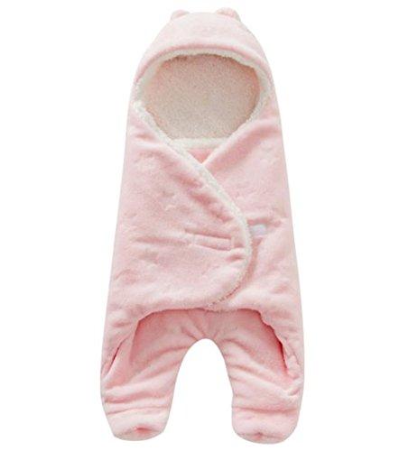 United global 暖かい ふわふわ おくるみ 足つき ボア フリース 赤ちゃん ベビー アフガン ブランケット スリーパー 冬 お出掛け (ピンク)