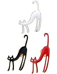 Baosity 合金 ブローチ 襟 ピン 可愛い 猫型 動物 贈り物 3色 3個セット