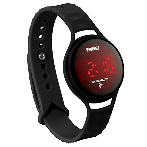 JewelryWe ファション LEDタッチパネル 腕時計 デジタルウオッチ 12/24H表示 3ATM防水 解体可 多機能-[ブラック]