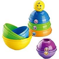 Flameer プラスチック数字スタッキング&ソーティングカップ かわいいスマイルフェイス付き レインボータワー キッズ 赤ちゃん用幼稚園発達玩具