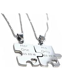 パズルピースネックレスセット – ステンレススチール – 彼と彼女のネックレスセット – Engravedパズル