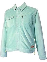 (アディダス)adidas メンズ フリースボアジャケット 薄緑/エンジ