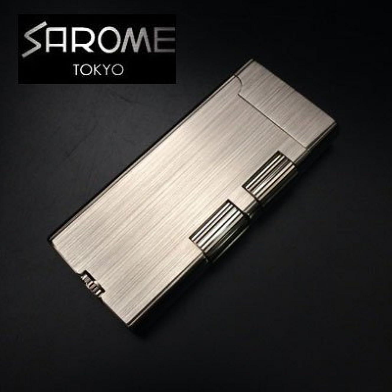 枝コンピューター省略ガスライター SAROME サロメ SD40-05 シルバーヘアライン