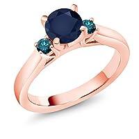 Gem Stone King 1.2カラット 天然 サファイア 天然 ブルーダイヤモンド シルバー925 ピンクゴールドコーティング 指輪 リング