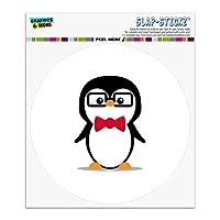 蝶ネクタイとメガネ付き漫画ペンギン自動車用車窓ロッカーサークルバンパーステッカー