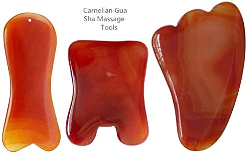 ファーザーファージュエピソード徒歩でEcho & Kern 三点セットかっさ板、瑪瑙かっさプレート、マッサージプレート(3 PCS) Natural Carnelian Agate Gemstone Gua Sha massage tools