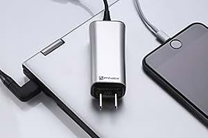 """超小型65W ノートPC汎用 ACアダプター FINsix """"Dart"""" (シルバー)超軽量85g 11種類の変換プラグで1000機種以上のノートPCに対応 USB5V出力付きでPCとスマホ同時充電 ※必ずご使用のPCとの互換性をご確認ください。『PSE認証済』"""