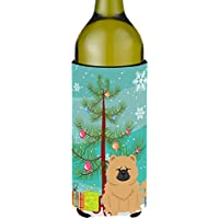 Carolines Treasures BB4269LITERK Merry Christmas Tree Chow Chow Cream Wine Bottle Beverge Insulator Hugger