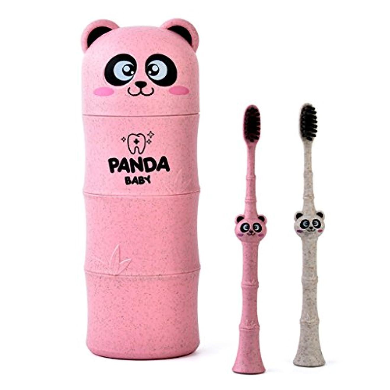 サドルエールバトルManyao 1セットベビー歯ブラシ小麦ストロー漫画パンダ幼児子供歯科口腔ケア (ピンク)