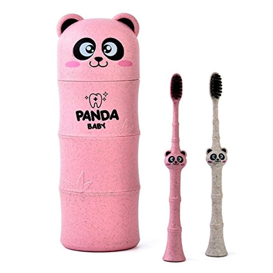 型排出ジャンピングジャックManyao 1セットベビー歯ブラシ小麦ストロー漫画パンダ幼児子供歯科口腔ケア (ピンク)