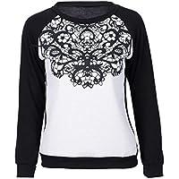 XuBa Women Autumn Winter Sweatshirts Hoodies Cloth Loose Printed Long Sleeve Lace Patchwork Tops Shirts Hot Sale