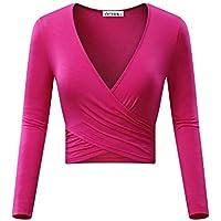 KIRA Women's Deep V Neck Long Sleeve Unique Slim Fit Coss Wrap Shirts Crop Tops