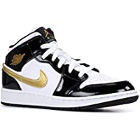 Jordan Air 1 Mid Se (Gs) (Black/Metallic Gold-White, 4Y)
