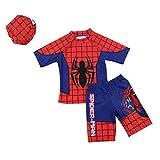 3点セット(水着上、水着下、帽子)スパイダーマン 水着 子供に大人気 男の子 水着 今から大活躍 紫外線カット(短いタイプL)