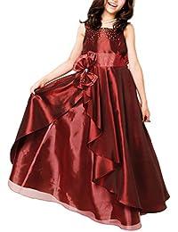 [アリサナ]arisana ドレス 子供 ロングドレス 発表会 結婚式 ピアノ こども 子供ドレス ピアノ発表会 女の子(ロングドレス+ウエストのリボンの2点セット)
