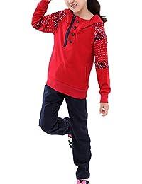 バナーBonnie Girls 'コットン長袖パーカートラックスーツスウェットシャツSweatpantセット