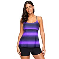 BOZEVON Womens Tankinis Swimsuits - Sexy Plus Size Swimwear Split Tankini Sets 2Pcs Gradient Stripes Strappy Sling Swimwear Top with Black Shorts