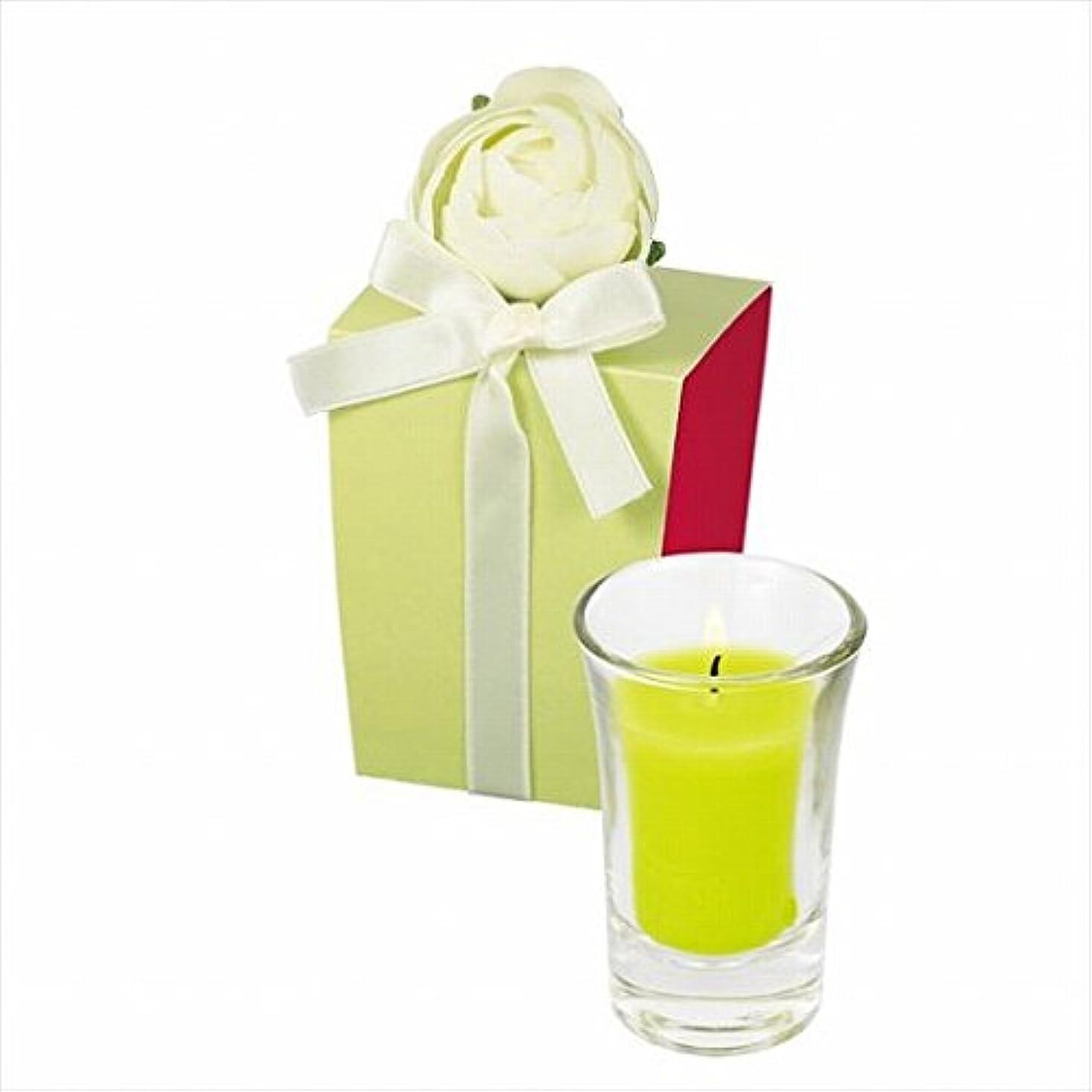 脊椎刺繍代わりにを立てるカメヤマキャンドル(kameyama candle) ラナンキュラスグラスキャンドル 「 ライトグリーン 」