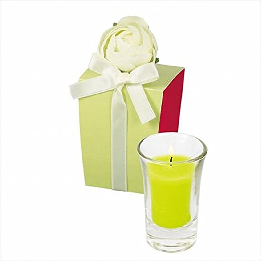 有罪抑圧する海カメヤマキャンドル(kameyama candle) ラナンキュラスグラスキャンドル 「 ライトグリーン 」