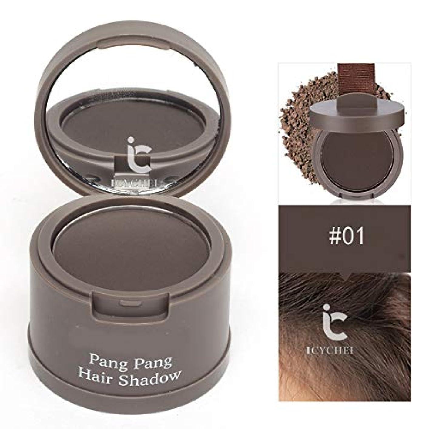 髪のためのヘアラインシャドウパウダー髪のシェーダレタッチルーツと髪パーフェクトカバレッジをラスティングICYCHEER防水ロング (01)